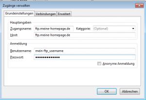 FTP-Zugangsdaten eingeben